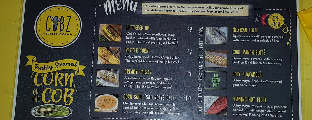 Menu offerings for Barbadian brand Cobz Street Corn