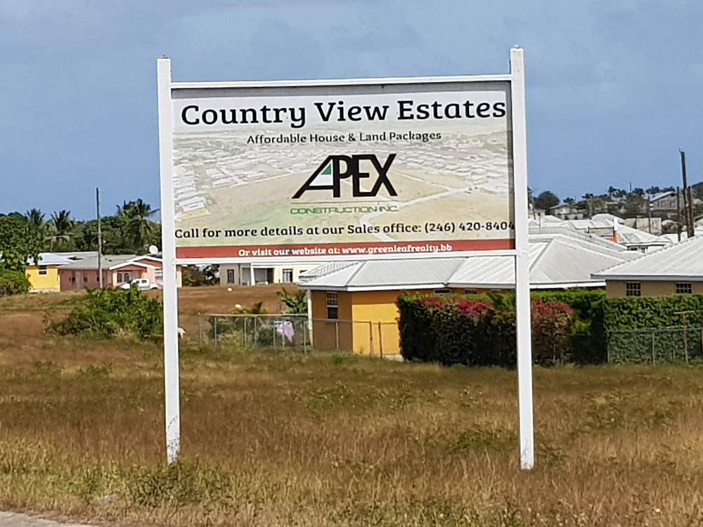 Apex Construction Inc. sign at Country View Estates residential development