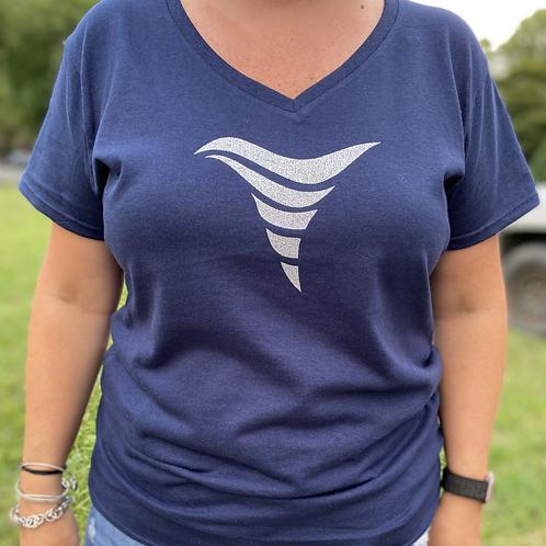 V-neck Glitter Whirlie T-Shirt