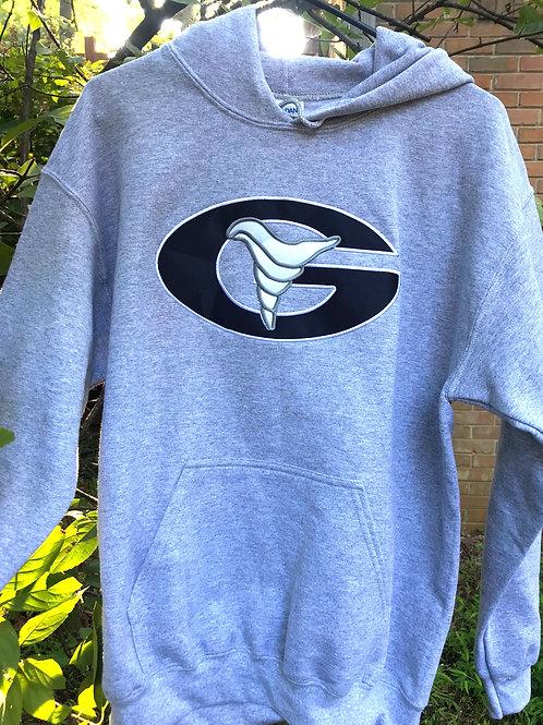 Embroidered Grey Hoody Sweatshirt