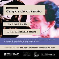 """AULA ABERTA """"Campos de Criação"""" com Profª Ma. Daniela Maura"""