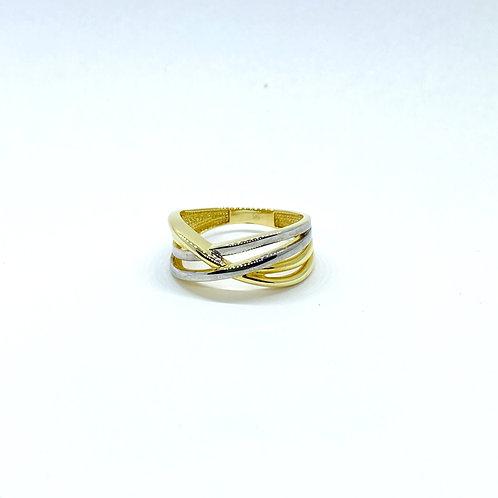 Χρυσό Δαχτυλίδι Κ14 - Δίχρωμο