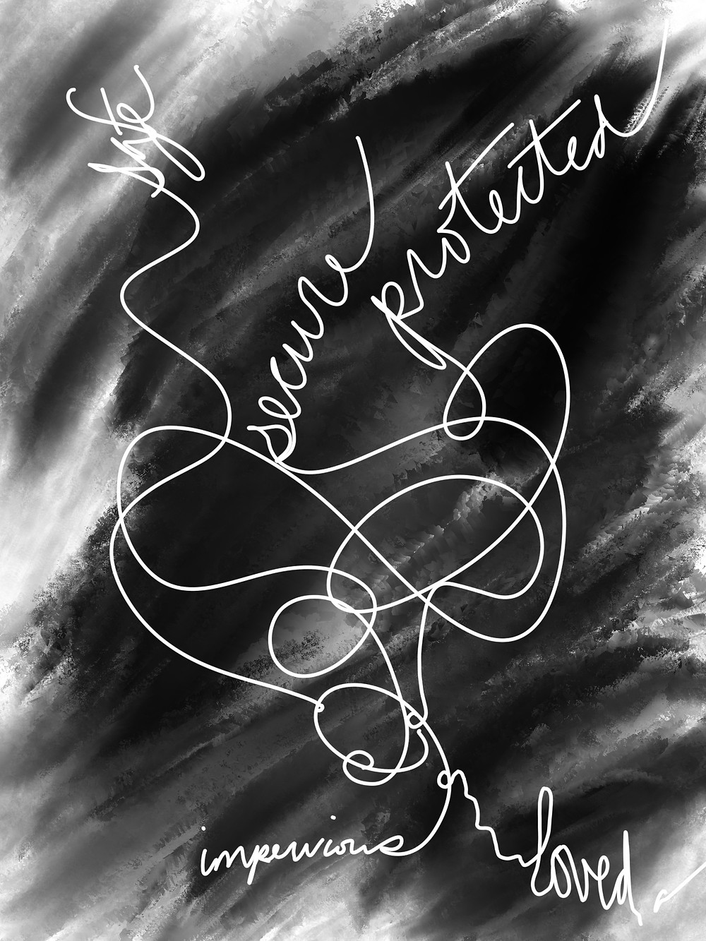 Digital painting with words. Obscured black background. White words tangled together. Impervious holding 'safe,' 'secure,' 'protected' in the air while the word 'love' crumples on the ground.