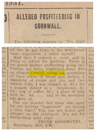 cream tea history on newspaper | cream tea in Newquay | Hendra Croft Farm