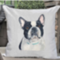 bPILLOW FOR WEBack and white French Bull