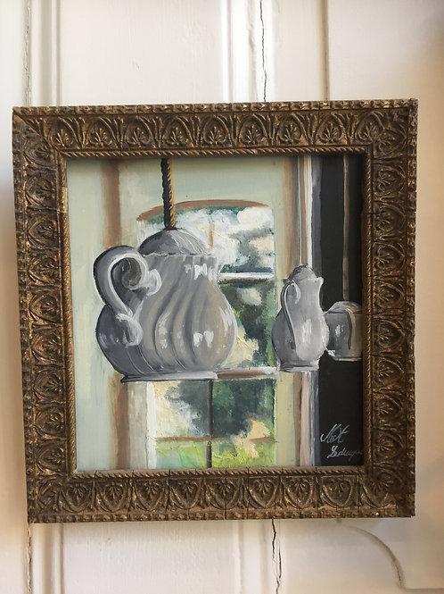 Peinture à l'huile décor et son cadre