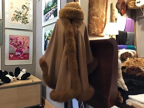100% baby alpaca long Fur Trim capes, beautiful