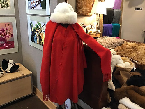 Long cape with attached scarf