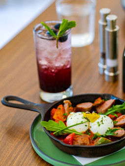 Our Sausage Skillet and our Blueberry Mojito