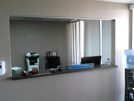 Glass Transaction Windows, Glass Partitions, transaction window, business glass partitions, doctor's office window, dentist office window,Paramount Glass & Mirror, paramountglassmirror.com, paramountglasslv.com, window repair, glass replacement