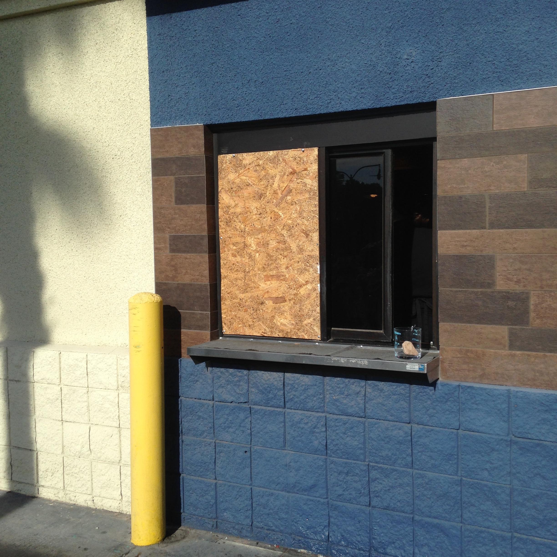 Drive Thru Window Glass Board Up