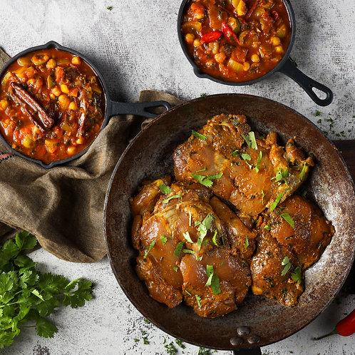 Marokietiškai marinuotos vištienos šlaunelės (paruoštos kepti)