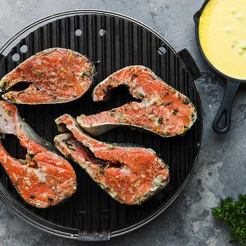 Marinuoti laukinės lašišos steikai (paruošti kepti) su chimichurri pad. (4 porc)