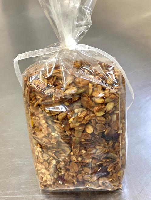 Granola su džiovintomis spanguolėmis ir abrikosais (0.200 kg.)