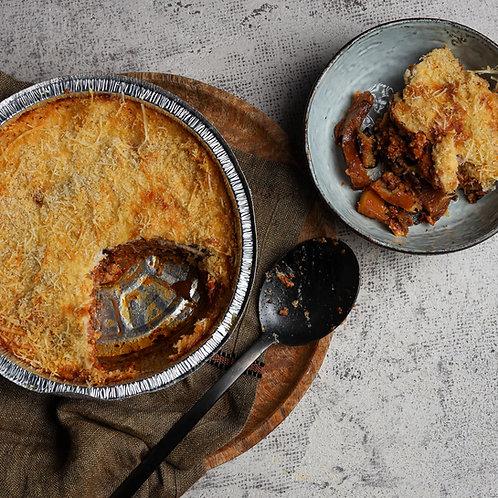 Graikiškas baklažanų, mėsos pyragas (paruoštas kepti 2 porcijos)