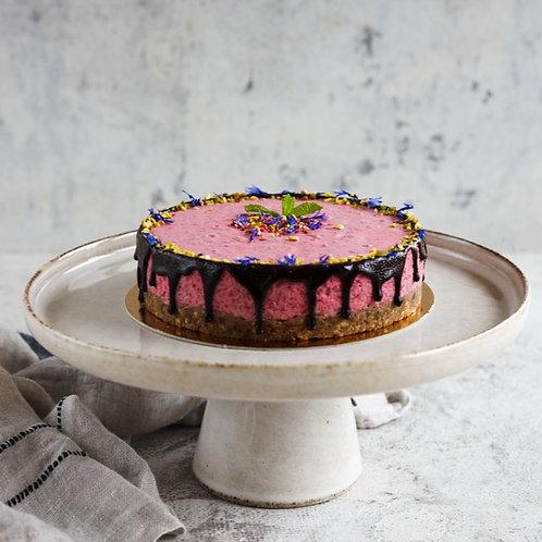 Veganiškas tortas su aviečių putėsiais be cukraus ir glitimo