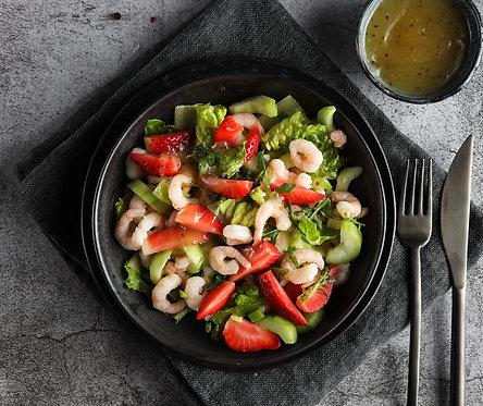 Krevečių ir braškių salotos su gaiviu citrininiu padažu (0,5kg)