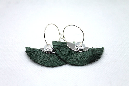 Boucles d'oreilles Pistil Argent Vert