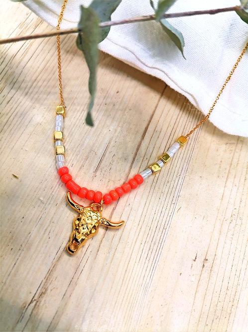 Collier Centaurée Corail