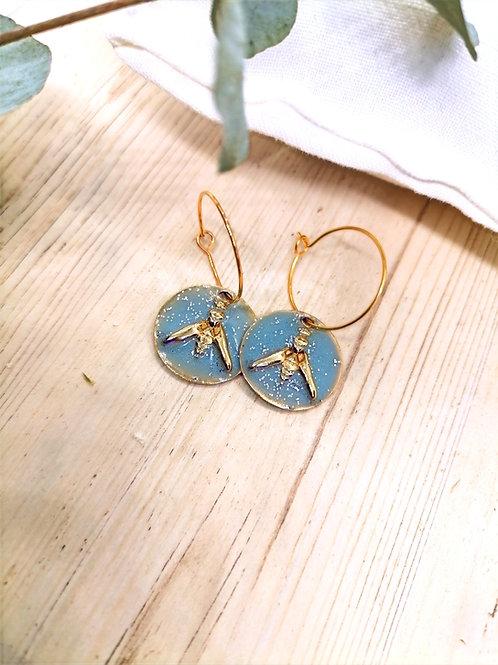Boucles d'oreilles Lupin Bleu ciel