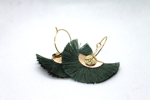 Boucles d'oreilles Pistil Or Vert