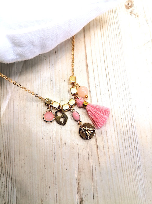 Collier Grigris Or Rose