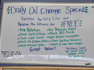Our daily oil change special