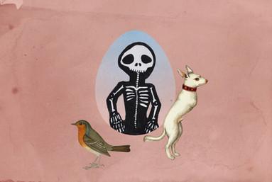 Collage numérique, dessins et peinture pour Lave tes Oiseaux
