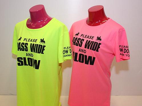 Flourescent Cool Short Sleeve T-shirt - PASS WIDE/SLOW DOWN