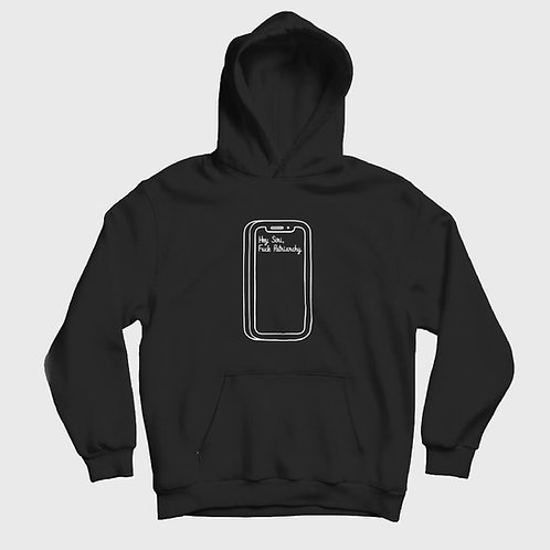 hey siri written at black hoodie