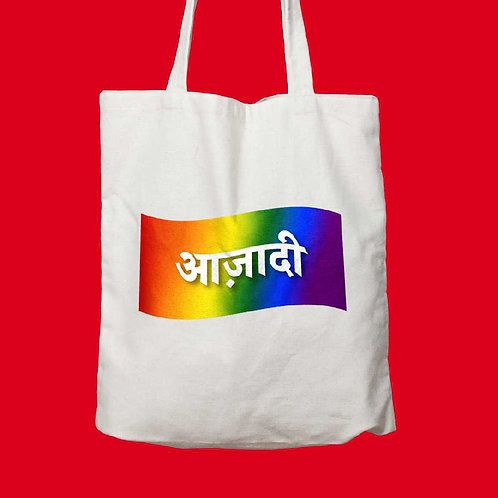 azaadi written on white tote bag