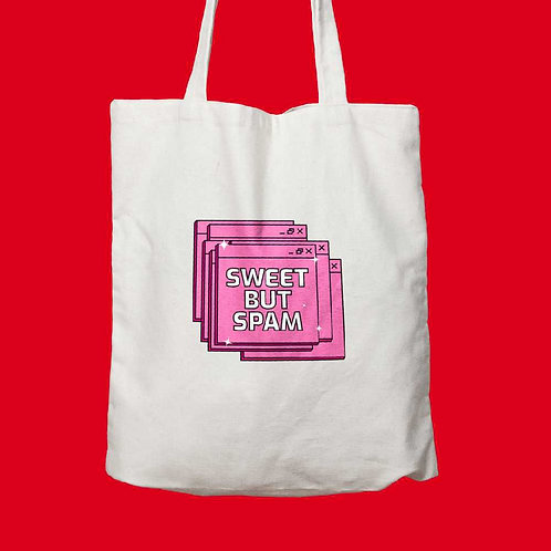 Sweet but spam written on white tote bag