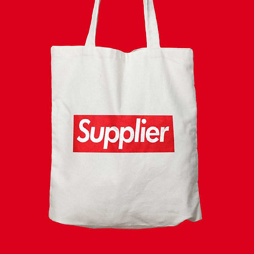 supreme funny white tote bag