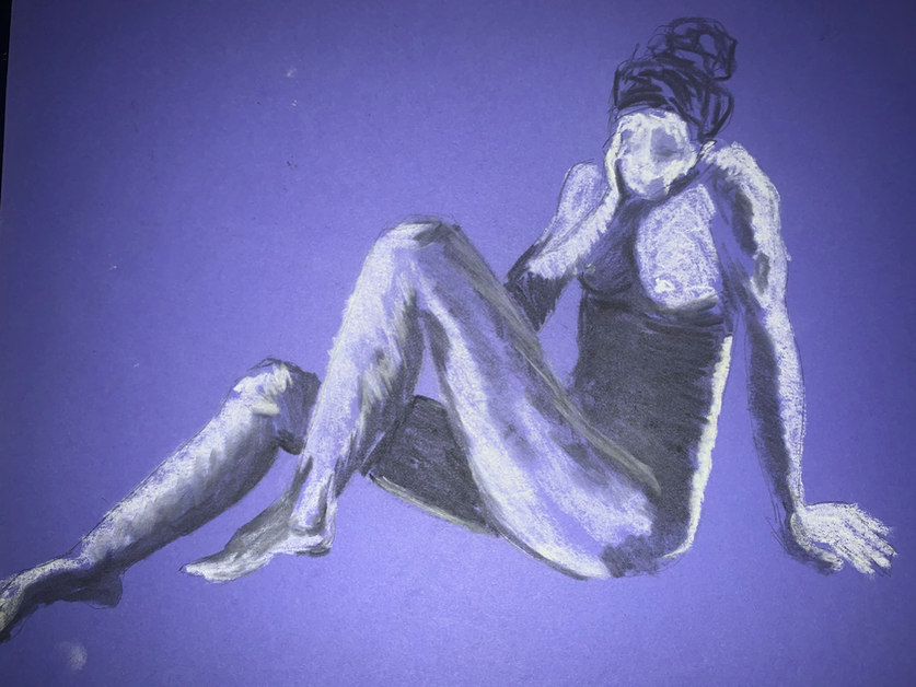 Pastel on Purple Cardstock