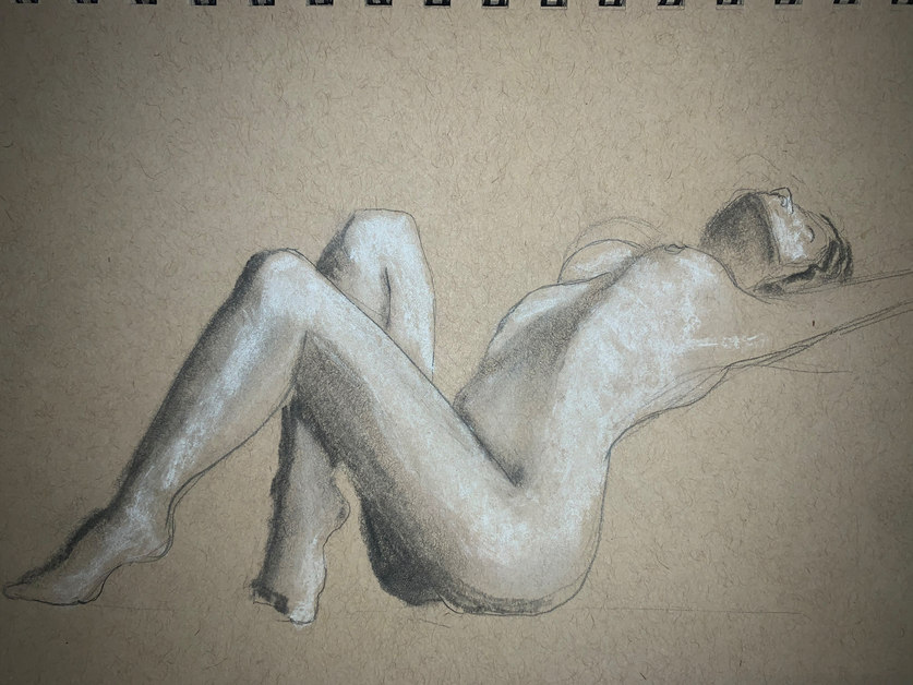Charcoal and Pencil on Toned Tan Paper