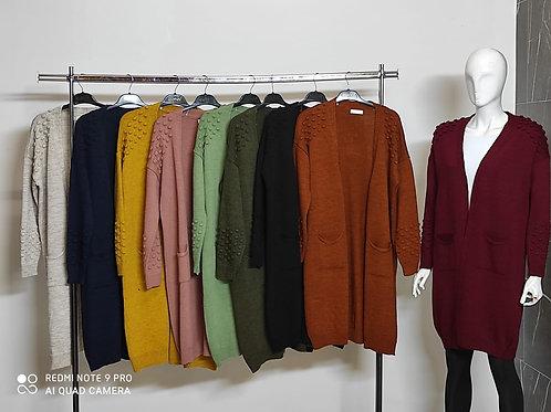 Omzu Kabartmalı  Kalın Ceket