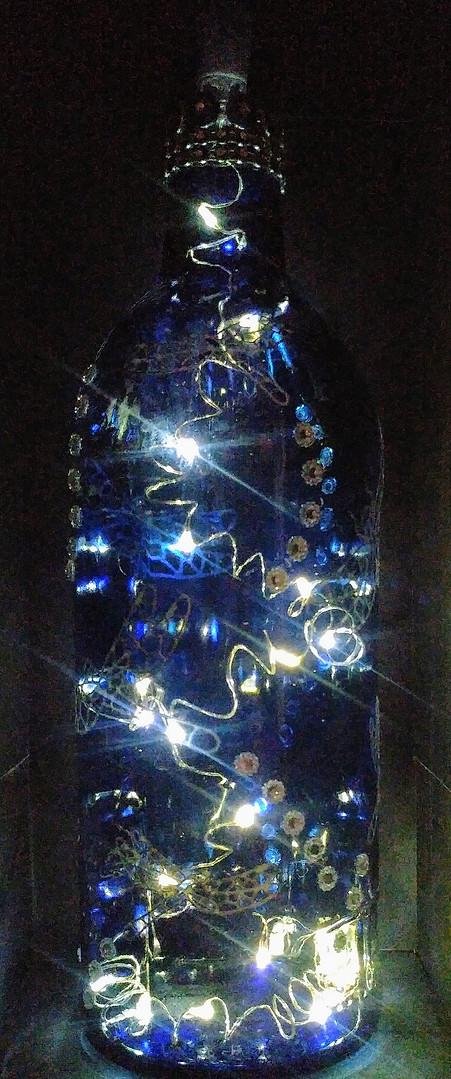 Blue dragonfly - lit