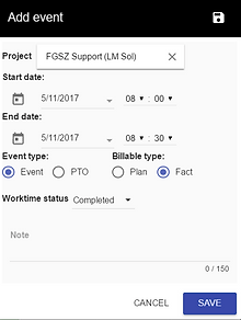 Add Event page Projct manaement solution