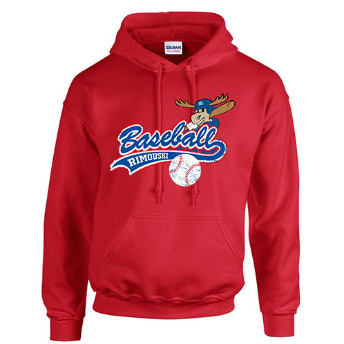 B09- Chandail à capuchon adulte avec logo avant baseball