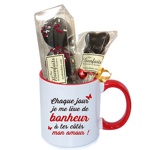 T8-Tasse avec impression standard 'mon amour' / Chocolat