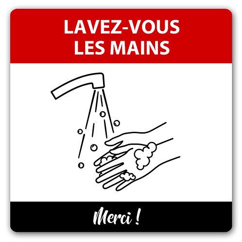 J17-Autocollant mural ou Affiche coroplast - Lavez-vous les mains