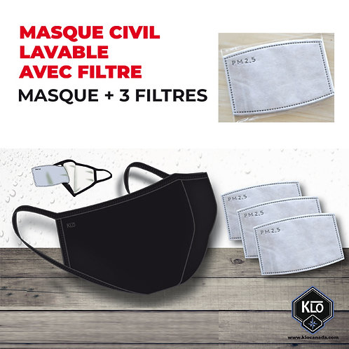 K05-Masque civil lavable + 3 filtres interchangeables (Lot de 48 masque