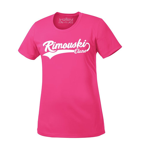 B01- T-Shirt 100% polyester uni femme adulte avec logo blanc