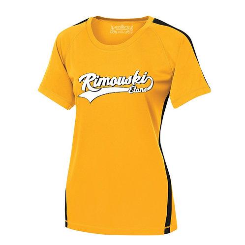B14- T-Shirt 100% polyester femme adulte avec logo Blanc/Noir