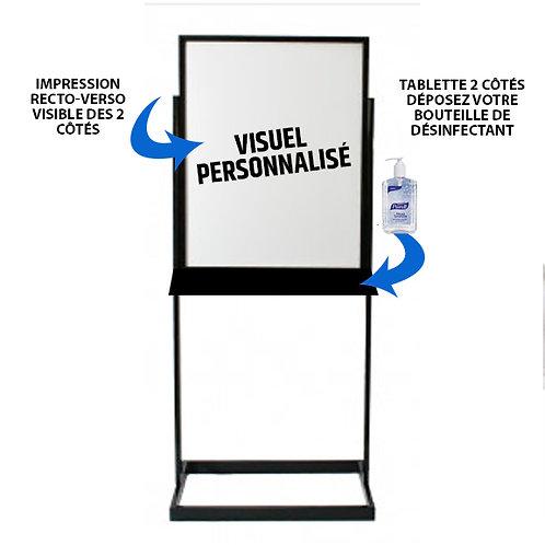 J02-Support d'affichage avec tablette et visuel personnalisé