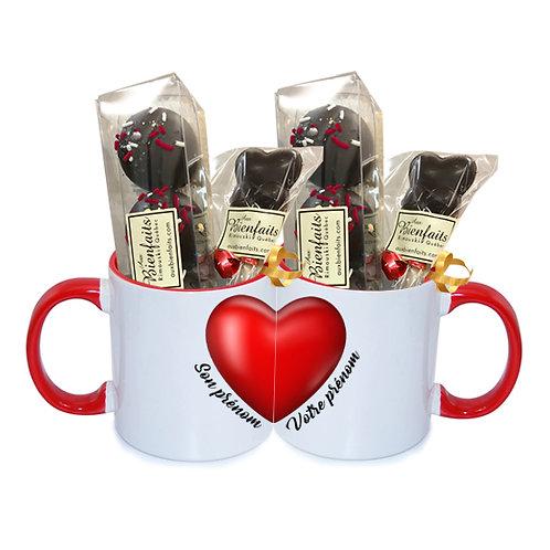 TD1- Ensemble de 2 Tasses avec prénoms personnalisés / Chocolat