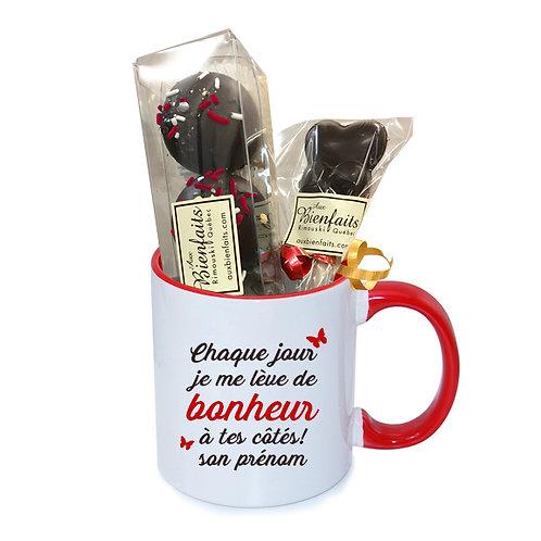 T1-Tasse avec prénom personnalisé / Chocolat