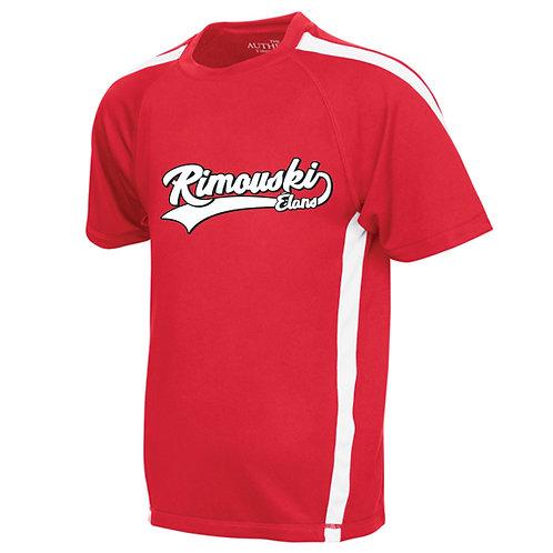 B13- T-Shirt 100% polyester junior et adultes avec logo Blanc/Noir