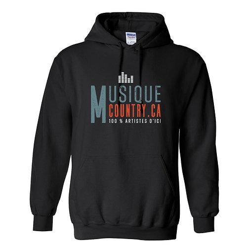 MCCA16 - Chandail capuchon noir logo couleur