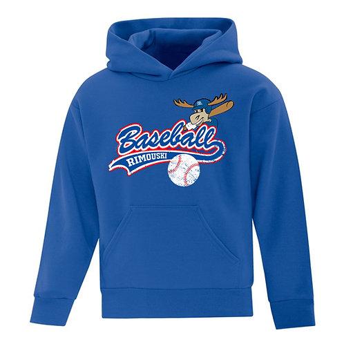 B10- Chandail à capuchon junior avec logo baseball